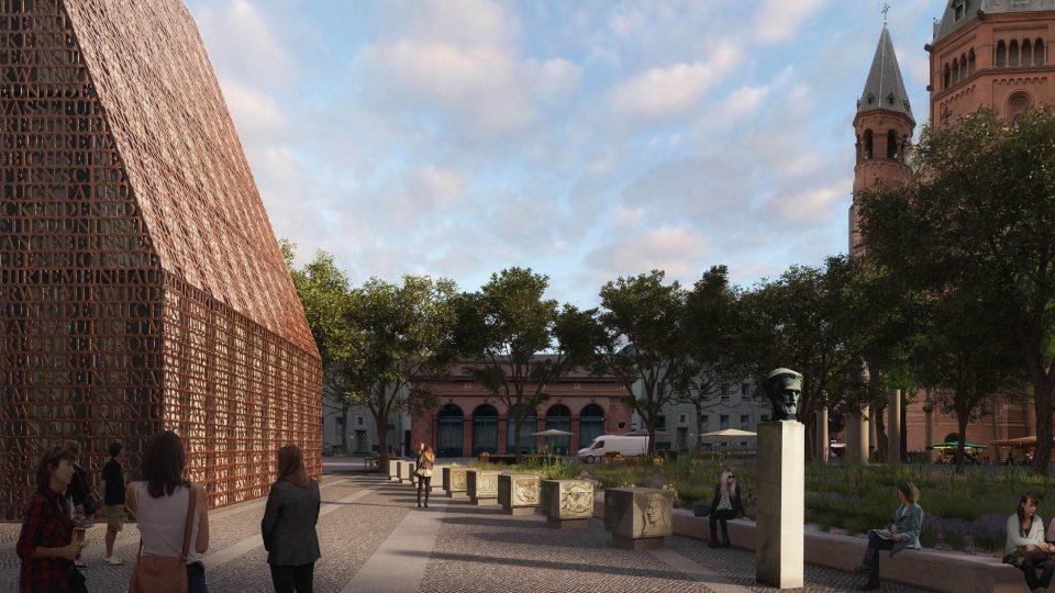 Gutenbergmuseum Platzperspektive mit Dom im Anschnitt